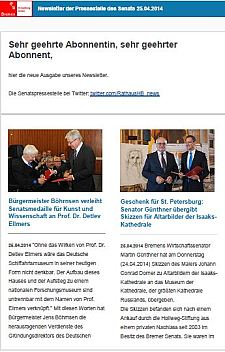 Newsletter vom 25. April 2014