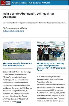 Screenshot vom Newsletter vom 08. August 2014