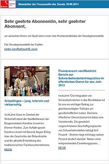 Screenshot vom Newsletter vom 18. August 2014