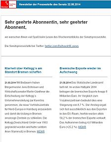 Screenshot vom Newsletter vom 22. August 2014