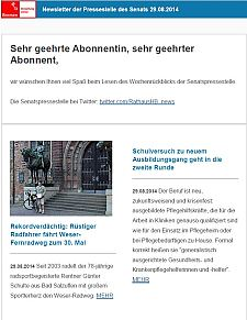 Screenshot vom Newsletter vom 29. August 2014