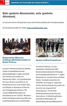 Screenshot vom Newsletter vom 05. September 2014