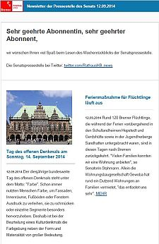 Screenshot vom Newsletter vom 12. September 2014