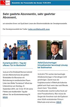 Screenshot vom Newsletter vom 19. September 2014