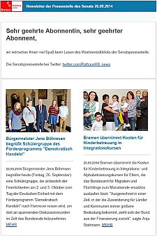 Screenshot vom Newsletter vom 26. September 2014