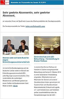 Screenshot vom Newsletter vom 10. Oktober 2014
