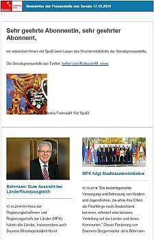 Screenshot vom Newsletter vom 17. Oktober 2014