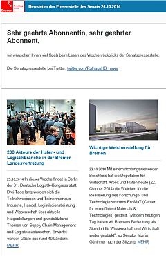 Screenshot vom Newsletter vom 24. Oktober 2014