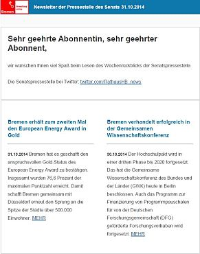 Screenshot vom Newsletter vom 31. Oktober 2014