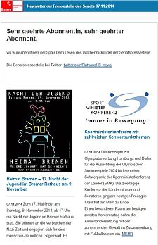 Screenshot vom Newsletter vom 07. November 2014
