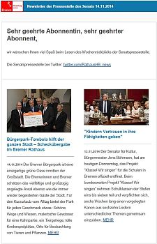 Screenshot vom Newsletter vom 14. November 2014