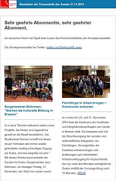 Screenshot vom Newsletter vom 21. November 2014