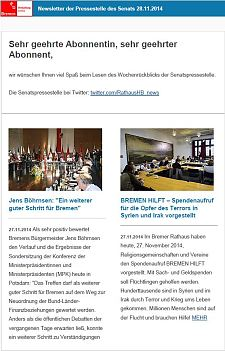 Screenshot vom Newsletter vom 28. November 2014