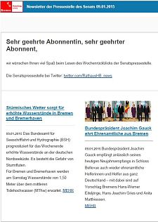 Screenshot vom Newsletter vom 09. Januar 2015