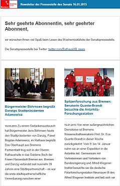 Screenshot vom Newsletter vom 16. Januar 2015
