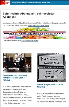 Screenshot vom Newsletter vom 23. Januar 2015