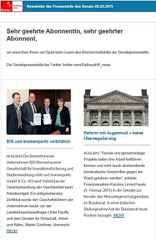 Screenshot vom Newsletter vom 06. Februar 2015