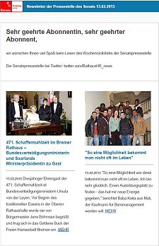 Screenshot vom Newsletter vom 13. Februar 2015