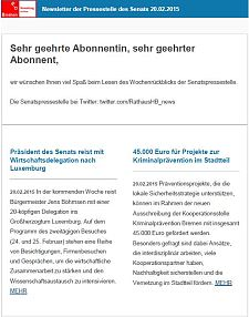 Screenshot vom Newsletter vom 20. Februar 2015