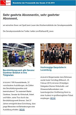Screenshot vom Newsletter vom 27. Februar 2015