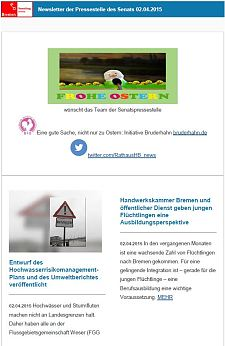 Screenshot vom Newsletter vom 02. April 2015