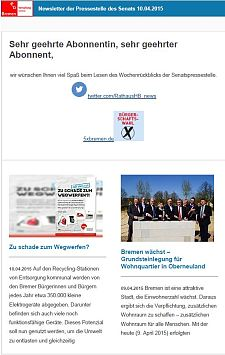 Screenshot vom Newsletter vom 10. April 2015
