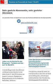 Screenshot vom Newsletter vom 17. April 2015