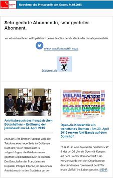 Screenshot vom Newsletter vom 24. April 2015