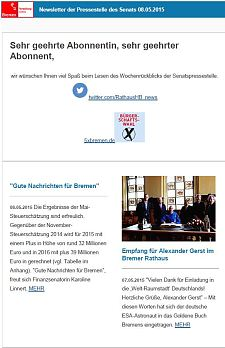 Screenshot vom Newsletter vom 08. Mai 2015