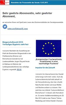 Screenshot vom Newsletter vom 15. Mai 2015