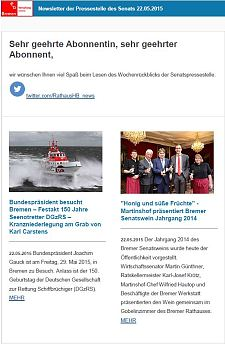 Screenshot vom Newsletter vom 22. Mai 2015
