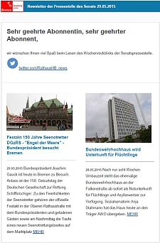 Screenshot vom Newsletter vom 29. Mai 2015