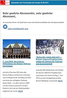 Screenshot vom Newsletter vom 05. Juni 2015