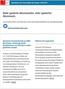 Screenshot vom Newsletter vom 12. Juni 2015