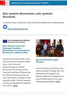 Screenshot vom Newsletter vom 19. Juni 2015