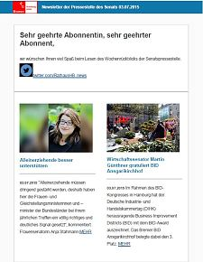 Screenshot des Newsletters vom 03. Juli 2015