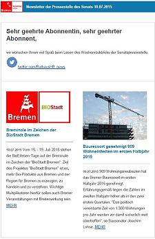 Screenshot des Newsletters vom 10. Juli 2015