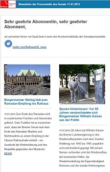 Screenshot des Newsletters vom 17. Juli 2015