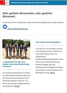 Screenshot des Newsletters vom 24. Juli 2015