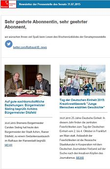 Screenshot des Newsletters vom 31. Juli 2015