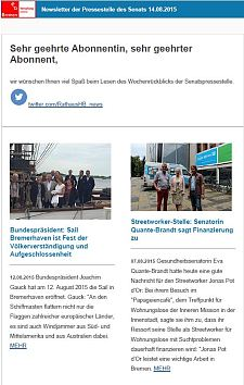 Screenshot des Newsletters vom 14. August 2015