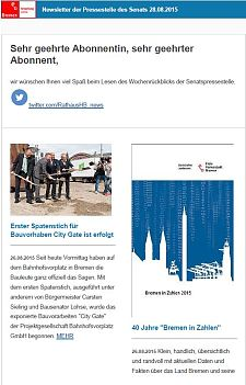 Screenshot des Newsletters vom 28. August 2015