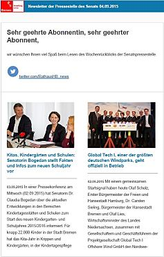 Screenshot des Newsletters vom 04. September 2015