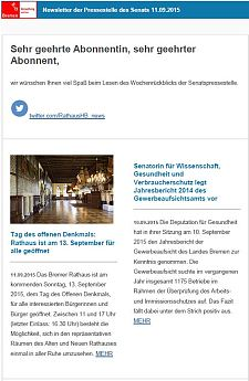 Screenshot des Newsletters vom 11. September 2015