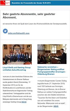 Screenshot des Newsletters vom 18. September 2015