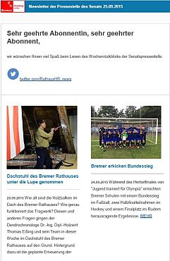 Screenshot des Newsletters vom 25. September 2015