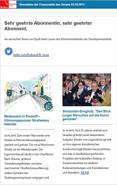 Screenshot des Newsletters vom 02. Oktober 2015