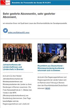 Screenshot des Newsletters vom 09. Oktober 2015