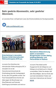 Screenshot des Newsletters vom 16. Oktober 2015