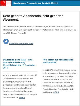Screenshot des Newsletters vom 23. Oktober 2015